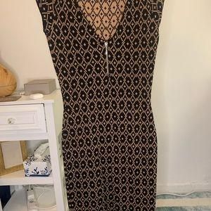 Zara Midi Black & Beige Diamond Patterned Dress